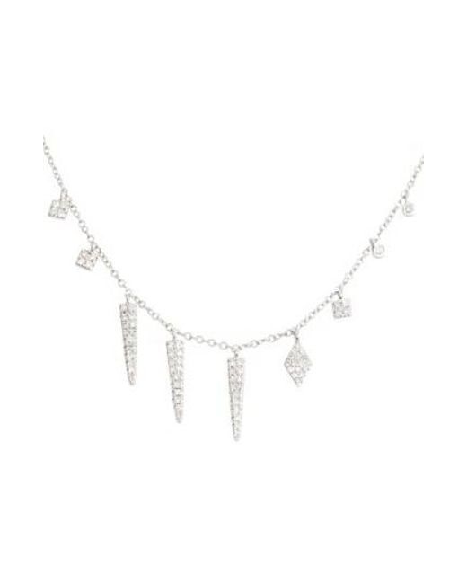 Meira T | Metallic Diamond Spike Dangle Charm Necklace | Lyst