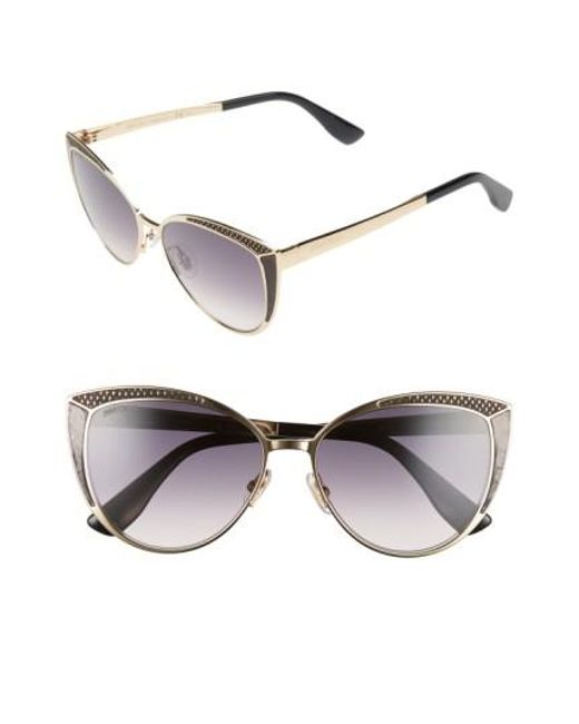 Jimmy Choo | Metallic 56mm Cat Eye Sunglasses | Lyst