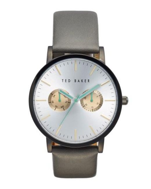 Ted Baker | Gray Multifunction Leather Strap Watch for Men | Lyst