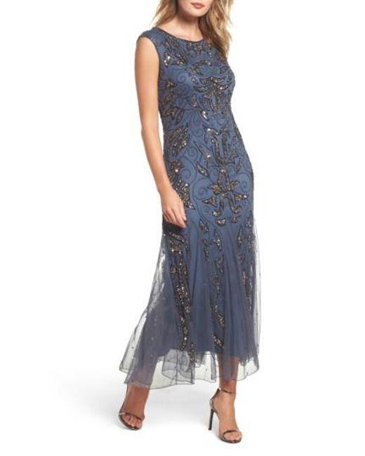 Pisarro Nights | Gray Beaded Mermaid Dress | Lyst
