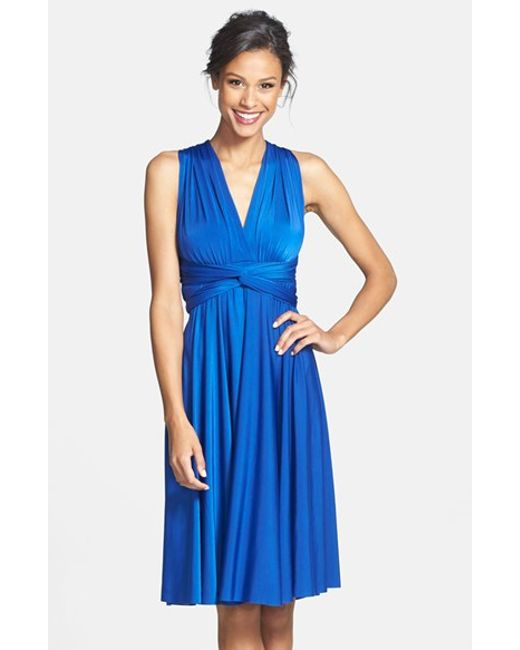 Dessy Collection | Blue Convertible Wrap Tie Surplice Jersey Dress | Lyst