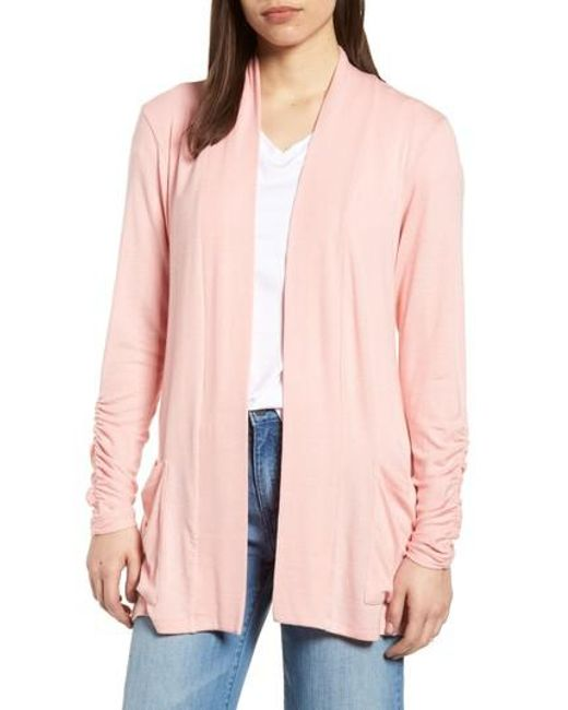 Bobeau - Gray Ruched Sleeve Cardigan - Lyst