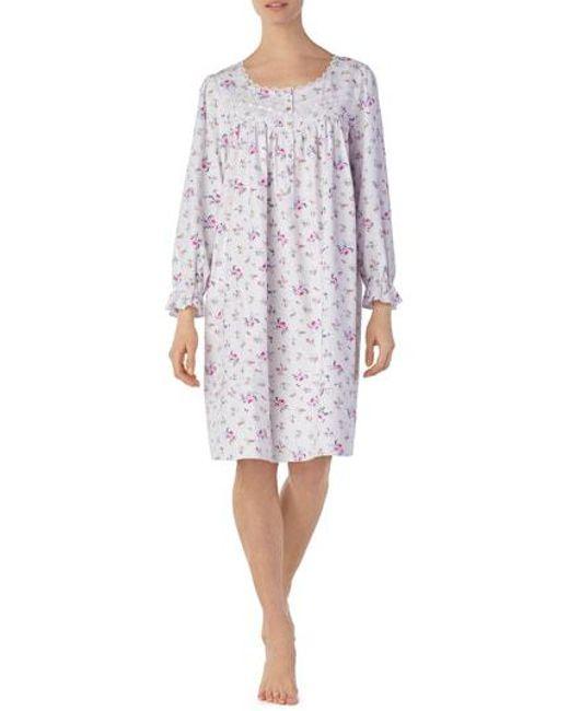 Lyst - Eileen West Flannel Watlz Nightgown in White e0f1c1599