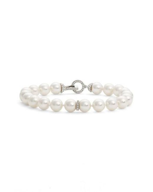 Nadri | White Single Row Imitation Pearl Bracelet | Lyst