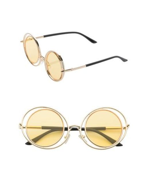 SUNNYSIDE LA | Metallic 55mm Round Sunglasses | Lyst