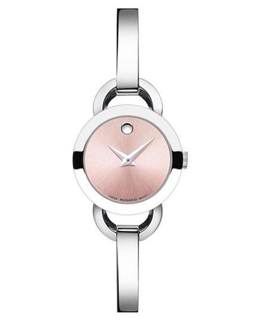 Movado | Pink 'rondiro' Small Round Bangle Watch | Lyst