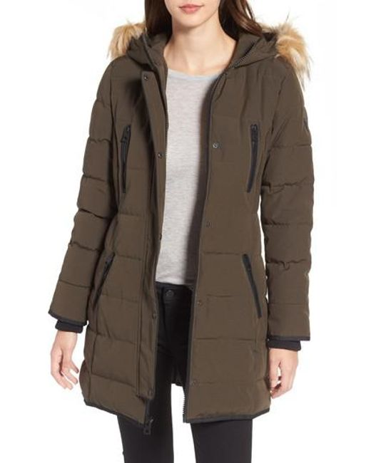 Guess | Multicolor Hooded Jacket With Faux Fur Trim | Lyst