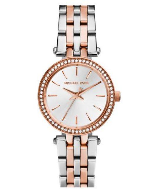 Michael Kors | Metallic Michael Kors 'Darci' Crystal Bezel Bracelet Watch | Lyst