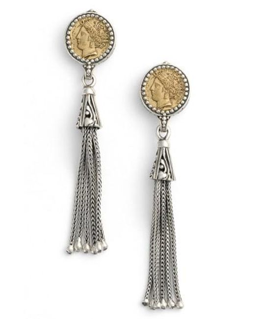 Konstantino - Metallic Coin Tassel Drop Earrings - Lyst