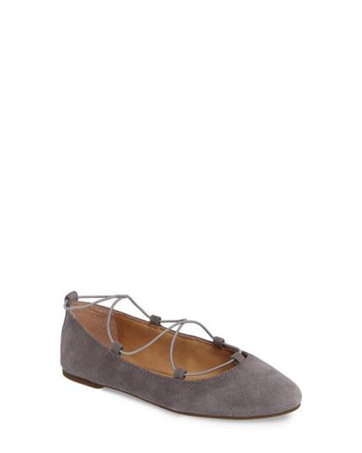 Lucky Brand | Gray 'aviee' Lace-up Flat | Lyst
