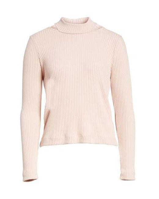 Splendid | Pink Sylvie Ribbed Mock Neck Sweater | Lyst