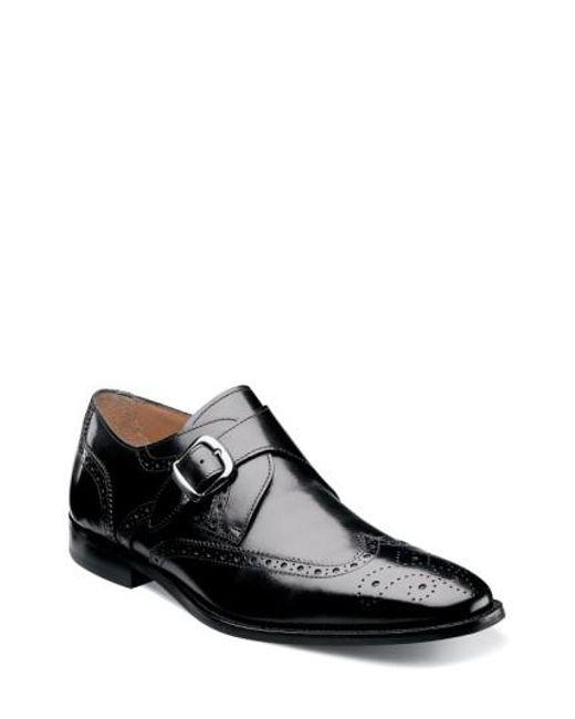 Florsheim | Black 'sabato' Wingtip Monk Strap Shoe for Men | Lyst