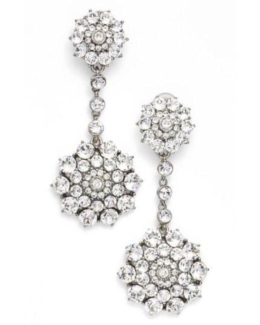 Oscar de la Renta - Metallic 'classic Jeweled' Swarovski Crystal Drop Earrings - Lyst