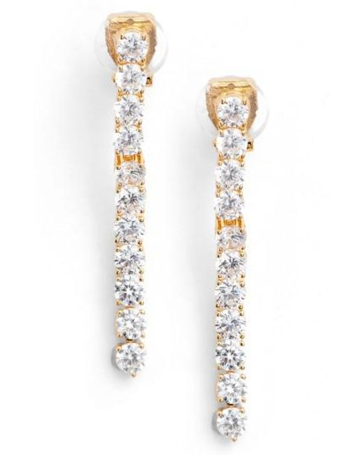 Nadri | Metallic Cubic Zirconia Linear Drop Earrings | Lyst