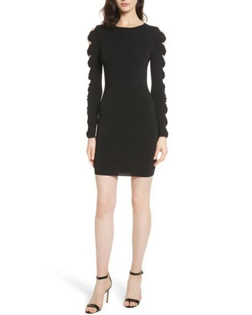 Ted Baker | Black Knotted Sleeve Body-con Dress | Lyst