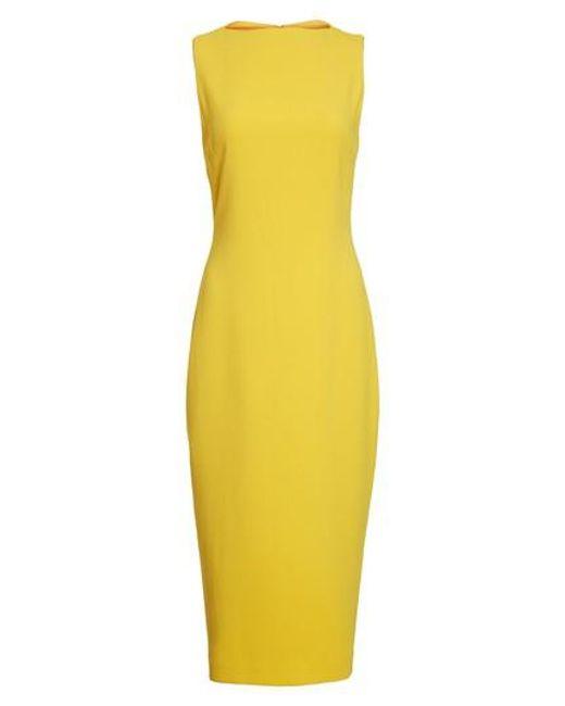 Brandon Maxwell - Yellow Sheath Midi Dress - Lyst