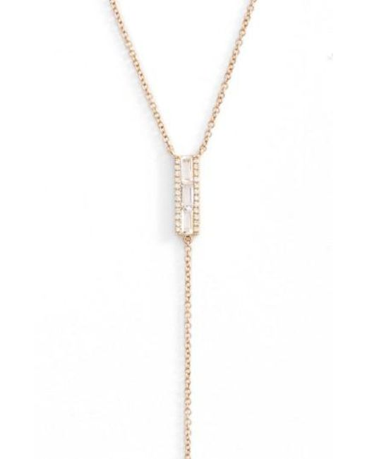 EF Collection | Metallic Diamond & Topaz Baguette Bar Y-necklace | Lyst