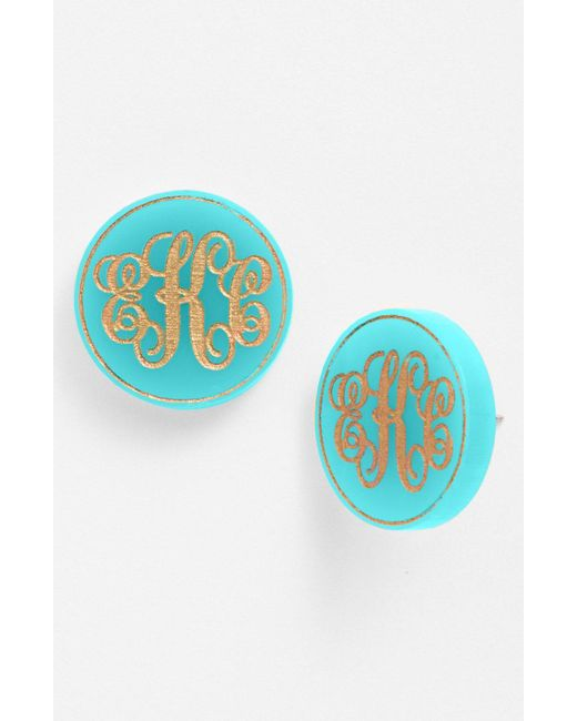 Moon & Lola - Metallic 'chelsea' Medium Personalized Monogram Stud Earrings (nordstrom Exclusive) - Lyst