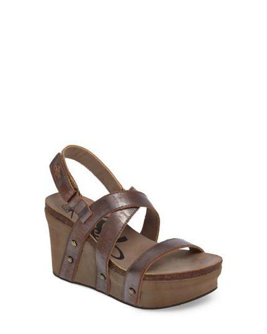 Otbt | Brown Sail Wedge Sandal | Lyst