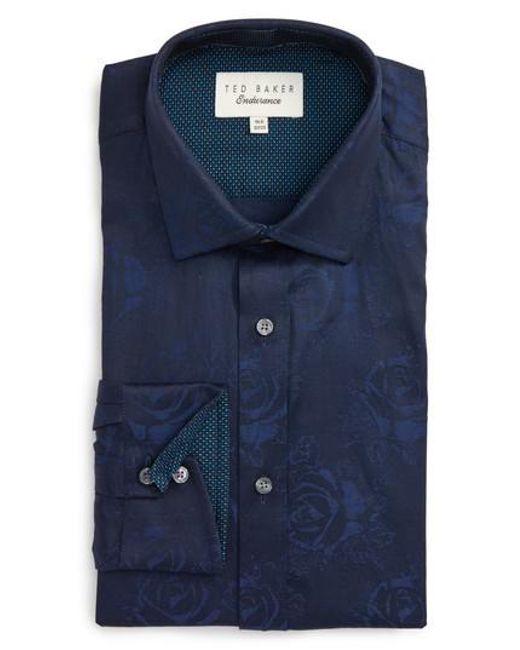 Ted Baker   Blue Trim Fit Floral Dress Shirt for Men   Lyst