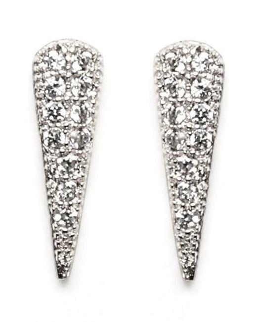 Melanie Auld   Metallic Pave Cubic Zirconia Spike Stud Earrings   Lyst