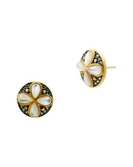 Freida Rothman | Metallic Fleur Bloom Petal Stud Earrings | Lyst
