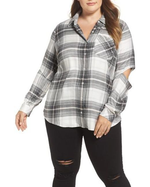 Two By Vince Camuto - Gray Cold Elbow Linearscape Plaid Shirt - Lyst