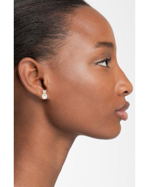 Majorica - White Cubic Zirconia & Faux Pearl Stud Earrings - Lyst