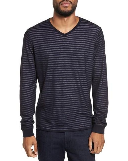 Calibrate | Blue Stripe V-neck Double Layer Sweater for Men | Lyst
