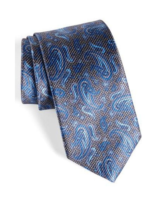 David Donahue | Blue Paisley Silk Tie for Men | Lyst