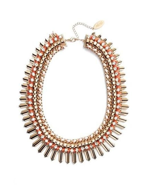 Adia Kibur - Pink Crystal & Suede Statement Necklace - Lyst