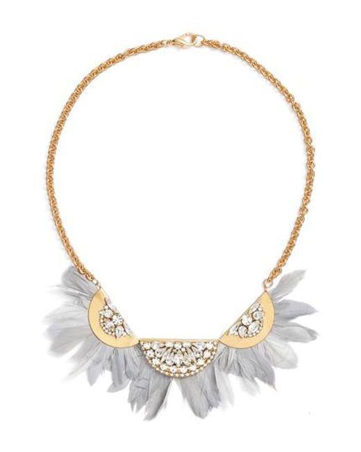 Sandy Hyun   Metallic Feather Bib Necklace   Lyst