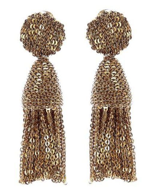 Oscar de la Renta - Metallic 'classic Short' Tassel Chain Drop Earrings - Lyst