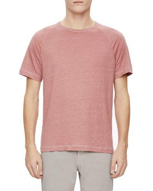 Theory | Pink Dustyn Zephyr Raglan Linen T-shirt for Men | Lyst
