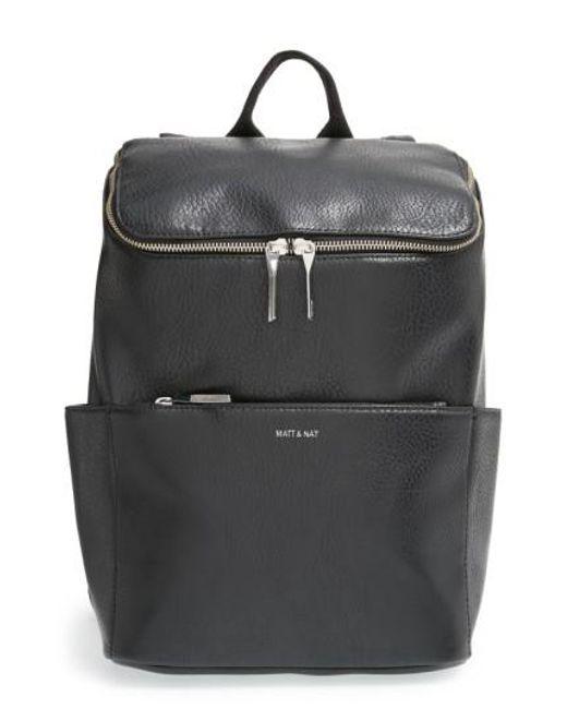 Matt & Nat - Gray 'brave' Faux Leather Backpack - Lyst