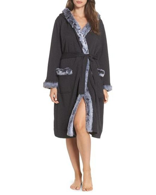 Lyst - Ugg Ugg Duffield Ii Deluxe Faux Fur Trim Robe in Black 9fa6077bd