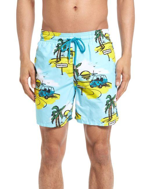Vilebrequin - Blue Moorea Mini Moke Print Swim Trunks for Men - Lyst