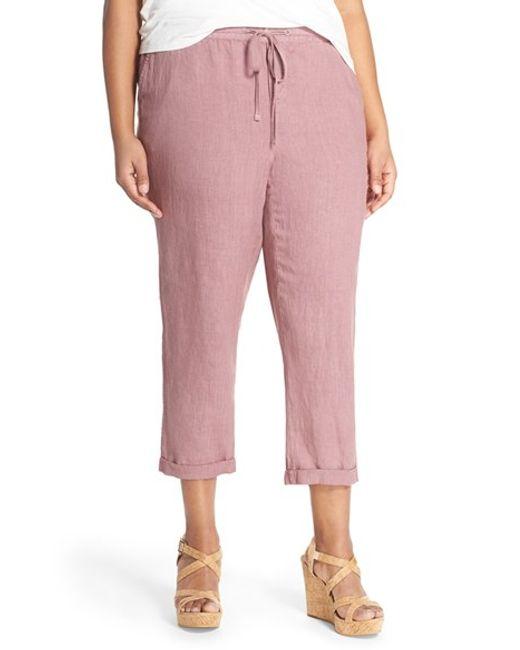 Caslon Linen Tie Front Crop Pants In Pink Purple Shake