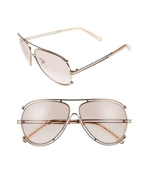 Chloé | Pink 'isidora' 61mm Aviator Sunglasses | Lyst