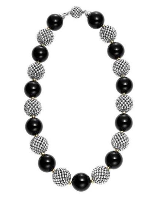 Lagos | Metallic 'black Caviar' Beaded Necklace | Lyst