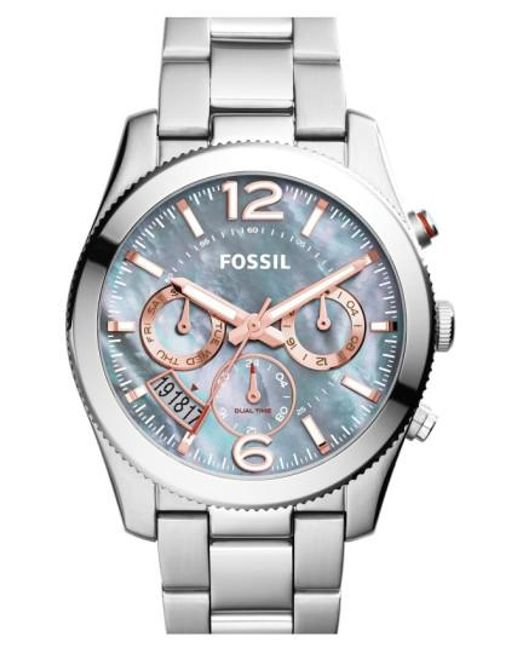 Fossil | Metallic 'perfect Boyfriend' Chronograph Bracelet Watch | Lyst