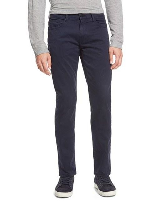 PAIGE | Blue 'federal' Slim Straight Leg Twill Pants for Men | Lyst