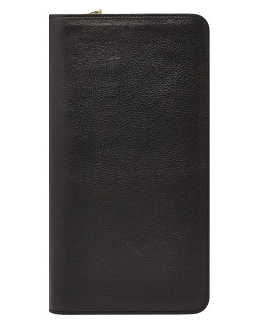 Fossil | Black Leather Zip Passport Case for Men | Lyst