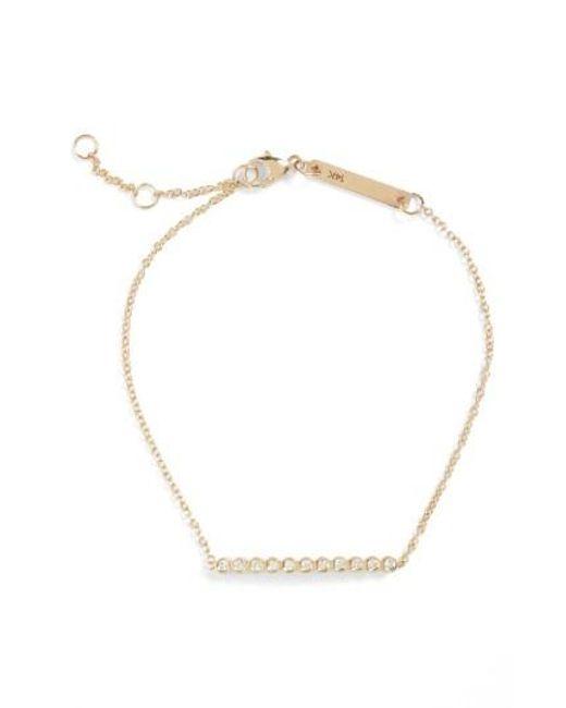 Zoe Chicco | Metallic Diamond Bar Bracelet | Lyst