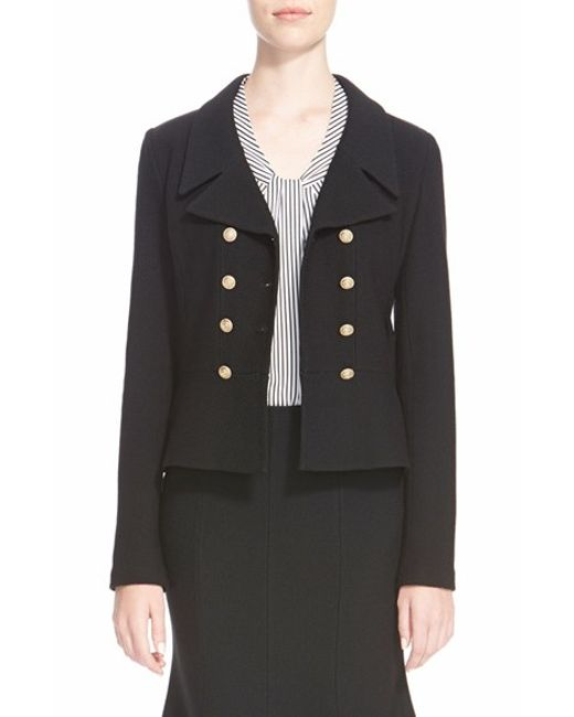 St. John | Black St. John 'spencer' Nouveau Boucle Knit Double Breasted Jacket | Lyst