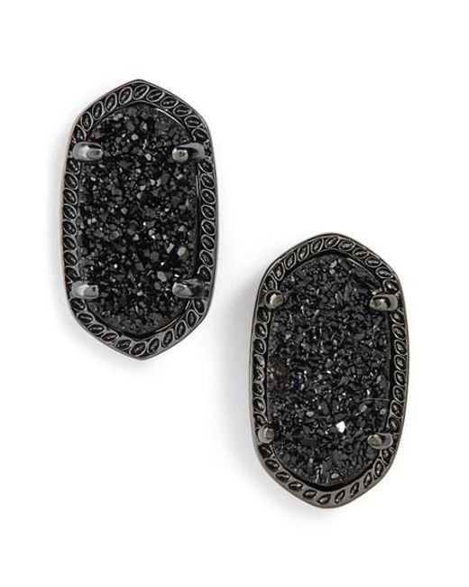 Kendra Scott | Black Ellie Oval Stone Stud Earrings | Lyst