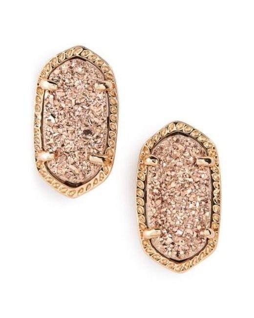 Kendra Scott | Metallic Ellie Oval Stone Stud Earrings | Lyst