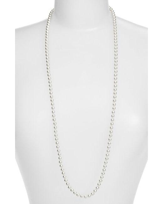 Nadri | Metallic Imitation Pearl Long Necklace | Lyst