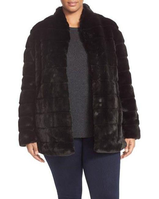 Ellen Tracy | Black Grooved Faux Fur Coat | Lyst