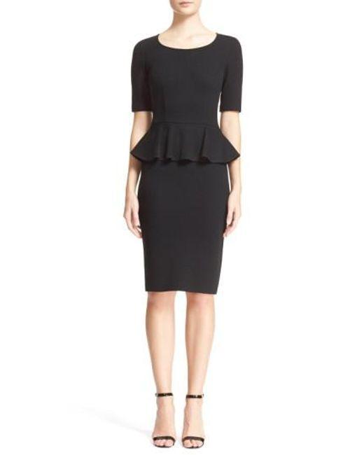St. John | Black Peplum Milano Pique Knit Dress | Lyst